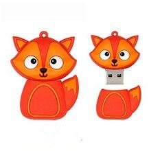 Силиконовый USB флеш-накопитель 2,0, флеш-накопитель 4 ГБ, 8 ГБ, 16 ГБ, мультяшный Лисий флешка, 32 ГБ, 64 ГБ, 128 г, Usb флешка, практичная емкость, Memoria Usb
