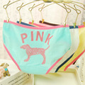 Free Shipping Brand New Love Pink Dog Candy Color Casual Calcinha Cotton Sexy Underwear Women Panties Tanga Butt Lifter Briefs