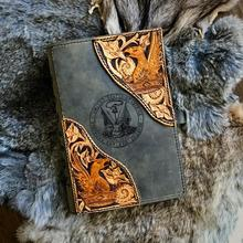 Hand Tooled Leather Journal Cover Customized Personalized Engraving Historical Log Book Gift for Husband