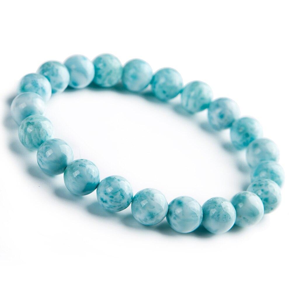 Natural Blue Larimar Gemstone 9mm Round Beads Bracelet Stretch From Dominica AAAAAANatural Blue Larimar Gemstone 9mm Round Beads Bracelet Stretch From Dominica AAAAAA