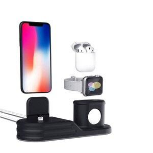 Image 2 - 3 en 1 chargeur Station daccueil chargeur de Charge support de quai sans fil debout pour Airpods Iphone Apple montre socle de Charge