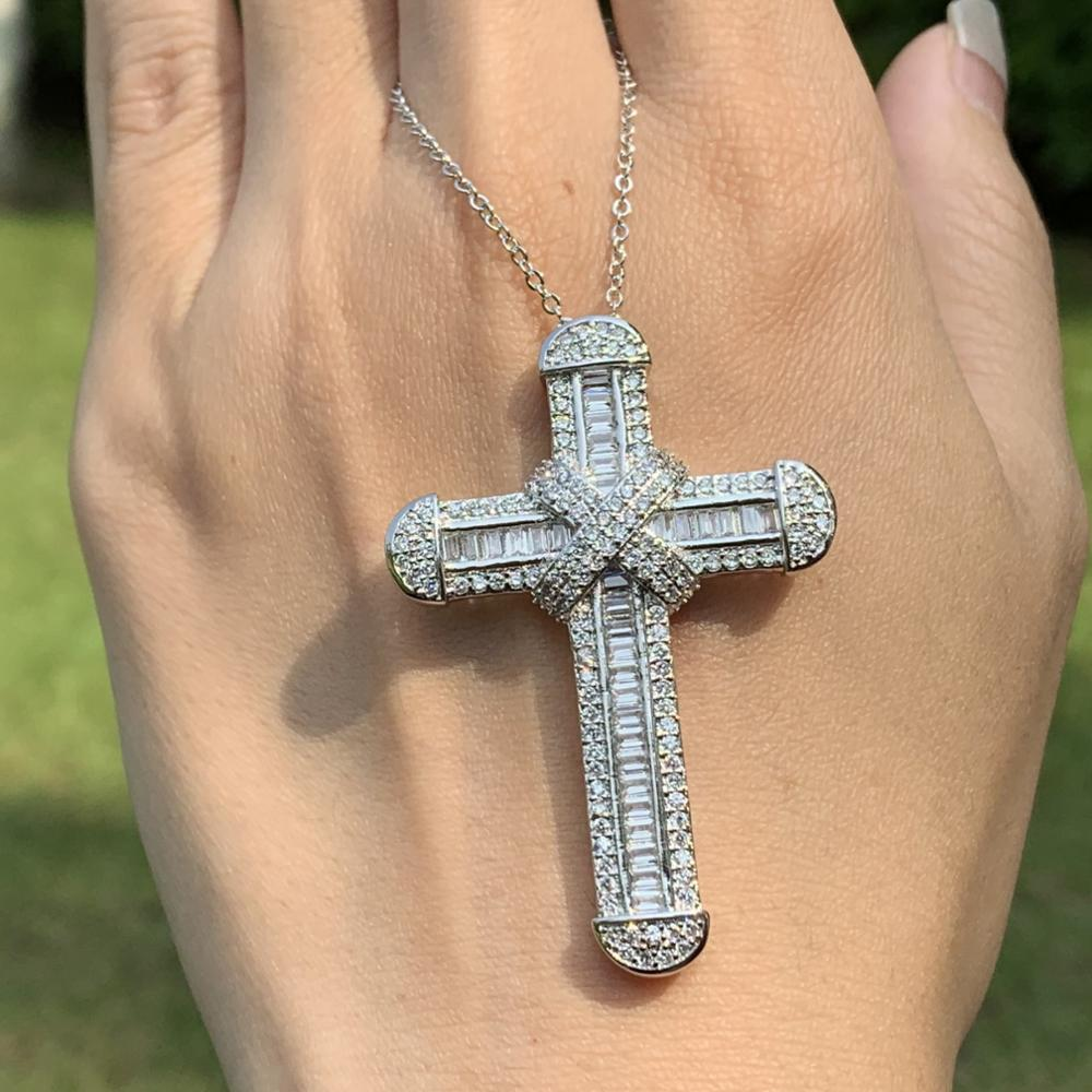Handmade Fashion Jewelry 925 Sterling Silver Cross Pendant Princess Cut Full 5A Cubic Zirconia Women Lucky Necklace For Lover