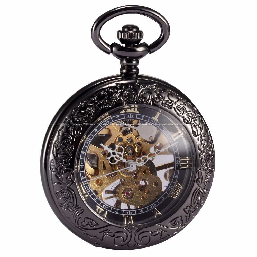 Steampunk Skeleton Male Clock Transparent Mechanical Copper Open Face Retro Ver Vintage Pendant Pocket Watch Gift