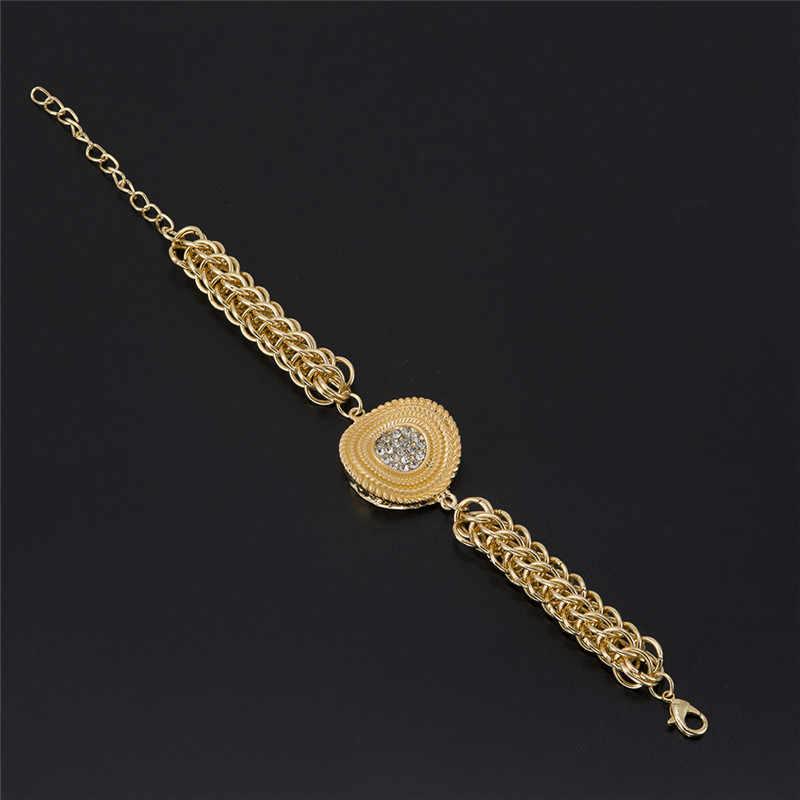MUKUN מקסים דובאי זהב תכשיטי קריסטל גדול שרשרת עגילי אפריקאי נשים של בגדי ניגריה כלה אביזרי חתונה