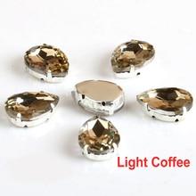 10x14mm 13x18mm 18x25mm 20x30mm Licht Kaffee TearDrop Abend kleid Dekorationen Nähen Auf Klaue Strass
