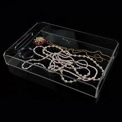 واضح الاكريليك مجوهرات عرض صواني قلادة المنظم صندوق شفاف صندوق تخزين مستحضرات التجميل