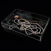 Bandejas de Acrílico Exhibición de La Joyería Organizador Collar Caja Transparente Caja de Almacenamiento de Cosméticos Caso