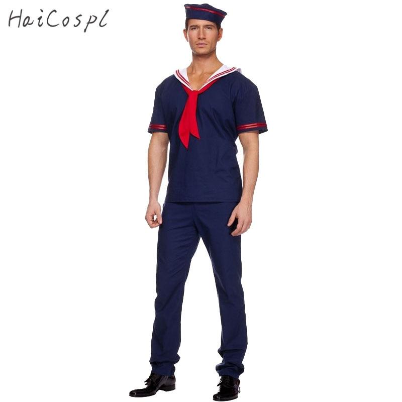 Плюс Размеры темно-костюм Для мужчин взрослых Sailor Косплэй синий Рабочий форма костюмы на Хэллоуин карнавал костюм футболка брюки hat ...