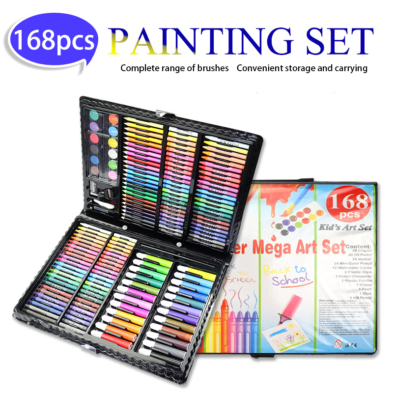 168 Pcs Kids Art Set Painting set Children Drawing Set Water Color Pen Crayon Oil Pastel Drawing Tool Art supplies stationery168 Pcs Kids Art Set Painting set Children Drawing Set Water Color Pen Crayon Oil Pastel Drawing Tool Art supplies stationery