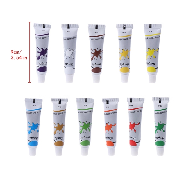 12 Color Acrylic Paint Set 12 ml Tubes Artist Draw Painting Pigment Art Supply W215