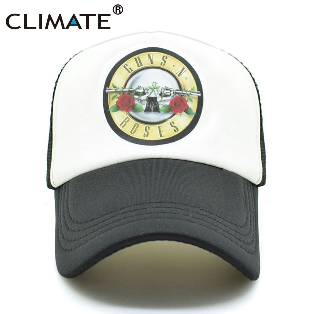 CLIMATE Men Women Cool Rock Music Trucker Mesh Caps Guns N' Roses Cap Women Men G N' R GnR Fans Cap Rock Music Band Fans Cap Hat climate men women summer cool mesh cap remix music dj hardwell on air fans cool baseball mesh summer net trucker caps hat fans