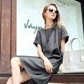 Estilo de alta Qualidade Verão 2016 Nova Mulheres Casual Vestido Solto cinza Vestidos de Manga Curta O Pescoço Mini Vestidos Plus Size vestido