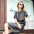 High Quality Summer Style 2016 New Women Dress Casual Loose Gray Dresses Short Sleeve O Neck Mini Vestidos Plus Size Dress