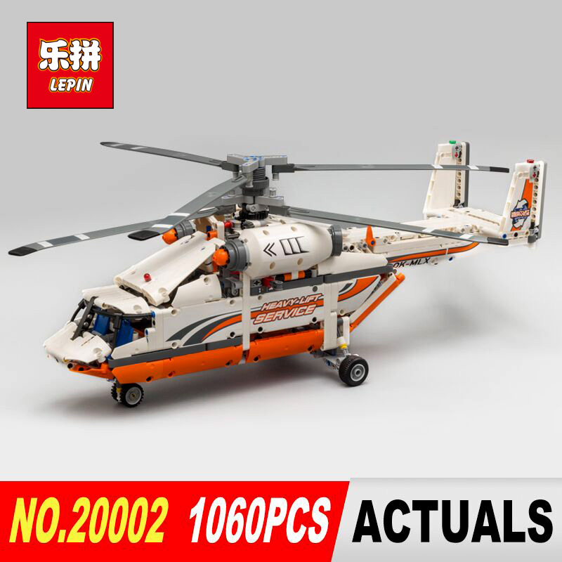 LEPIN 20002 technic series 1060pcs Double rotor transport helicopter Model Building blocks Bricks Compatible 42052 Boy toys new lepin 20002 technology series mechanical group high load helicopter blocks compatible with 42052 boy assembling toys