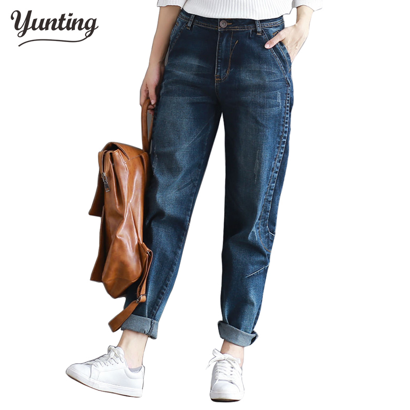 2017 Winter Big Size Jeans Women Harem Pants Casual Trousers Denim Pants Fashion Loose Vaqueros Vintage Harem Boyfriend Jeans 2014 new fashion reminisced men vintage trousers casual jeans wash capris pants loose plus size overalls zipper denim jumpsuit