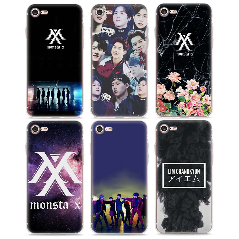 monsta x logo Style Soft Case TPU Silicone Phone Case for Apple iPhone 7 8 8Plus 7Plus 6 6s 6Plus X 5s SE