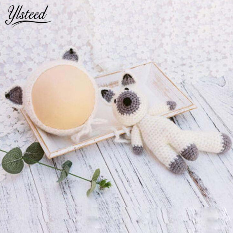 Newborn Photography Props Baby Cartoon Fox Hat Doll Set Baby Photo Props Infant Shoot Newborn Photo Accessories Christening Gift newborn crochet baby fox orange costume photography props knitting baby hat bow infant baby photo props