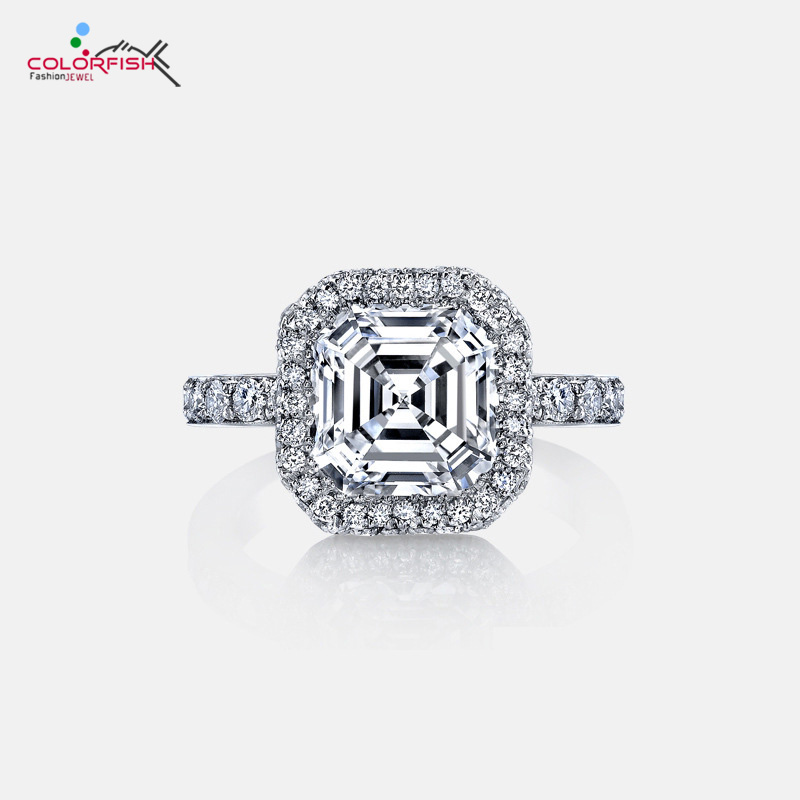 COLORFISH Luxury Female 3 Ct Asscher Cut Genuine 925 Sterling Silver Ring SONA Synthetic Halo Engagement weddin Ring For WomenCOLORFISH Luxury Female 3 Ct Asscher Cut Genuine 925 Sterling Silver Ring SONA Synthetic Halo Engagement weddin Ring For Women