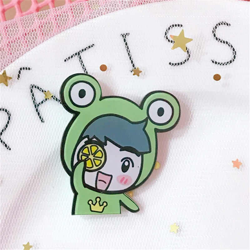 Pink Smile Brooch Watermelon Acrylic  Cartoon Pig Cute Carrot Scarf Flower Sweater Animal Brooches hijab Broches Mujer pins