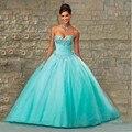 Hot Pink Azul Vestidos Quinceanera vestido de Baile de Tule Namorada Cristais Plissado Prom Party Corset Doce 16 Vestido Vestidos De