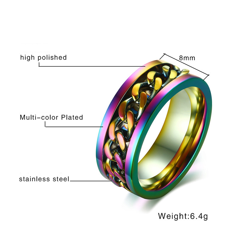 Jeweled Ring | Rainbow Chain Rings