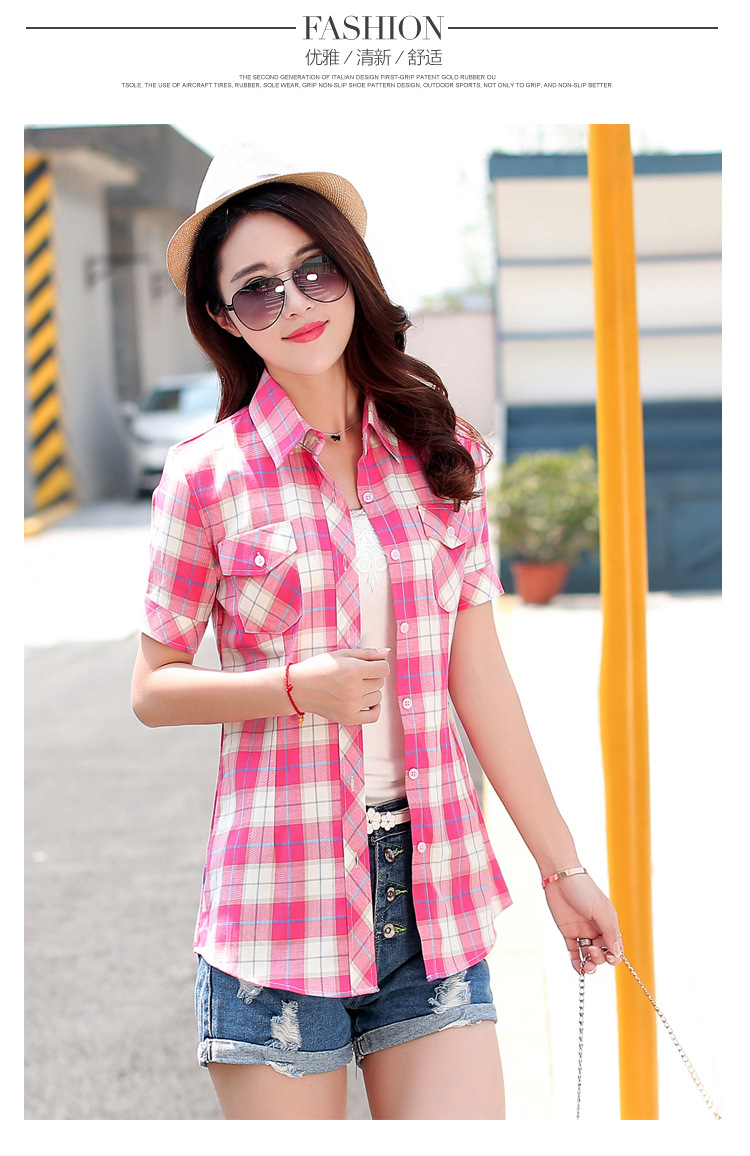 HTB1FlfyHFXXXXaoaXXXq6xXFXXXJ - New 2017 Summer Style Plaid Print Short Sleeve Shirts Women