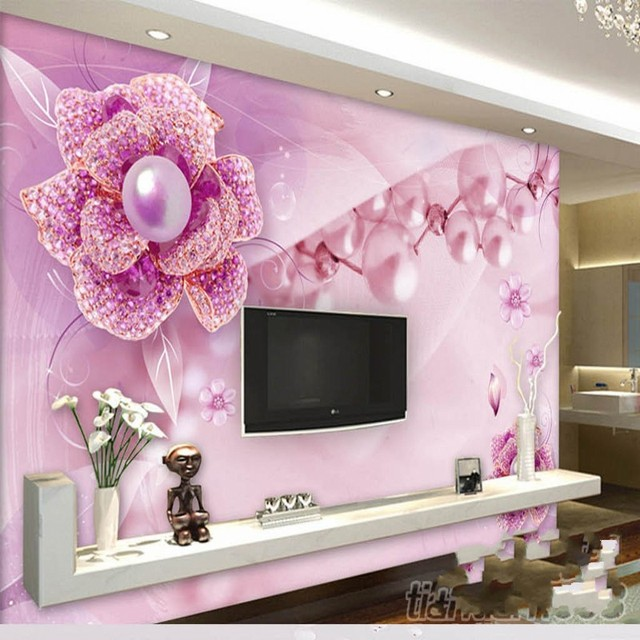 Beibehang Große Eigene Tapete Lila Blume Schmuck TV Hintergrund Wand  Wohnzimmer Schlafzimmer Sofa Dekoration