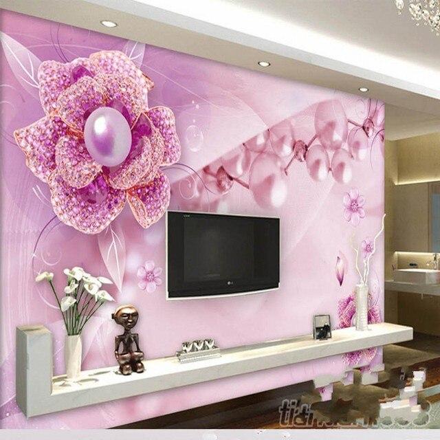 beibehang Large Custom Wallpaper Purple Flower Jewelry TV Background ...