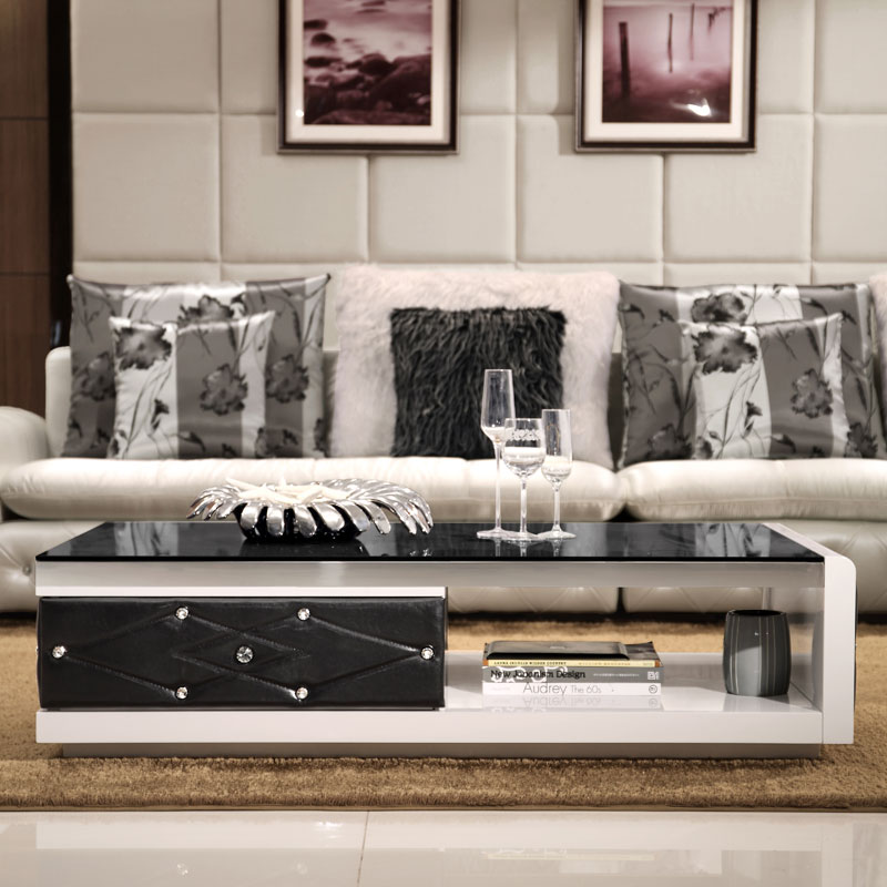 Tempered Glass Coffee Table Stylish Simplicity Leather