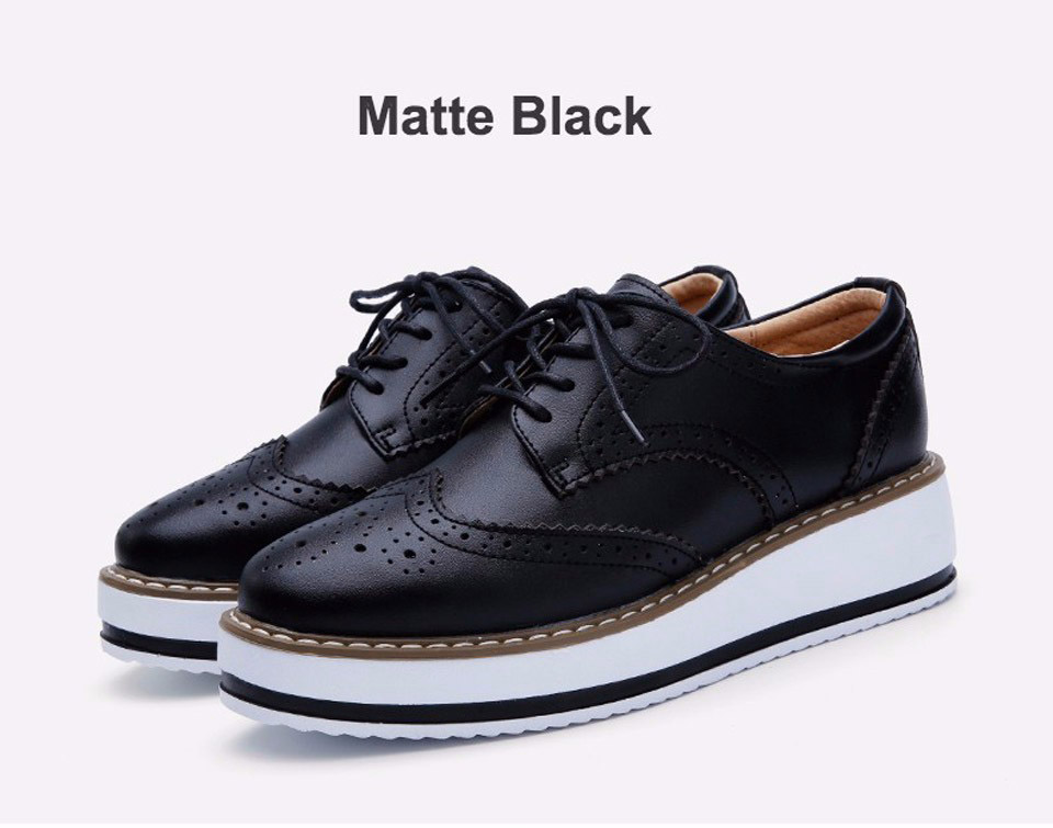 EOFK Brogue Leather Flats Lace Up Female Flat Oxford Shoes