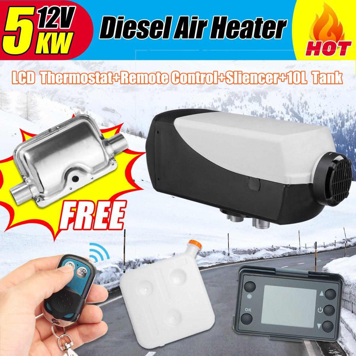 12 v 5000 w LCD Moniteur D'air diesels Réchauffeur de Carburant Monotrou Avec Télécommande Et Silencieux 10L Réservoir 5KW Pour camions Bateaux Bus Chauffage De Voiture