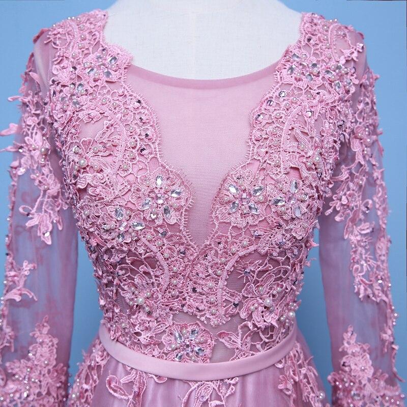 Rosa Vestidos de noche 3/4 mangas Appliques una línea de vestidos de ...