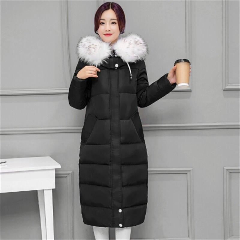 цена на Free Shipping 2017 Winter New Long Coat Slim Thickened Big Fur Collar Warm Jacket Cotton Padded Zipper Outwear Femme