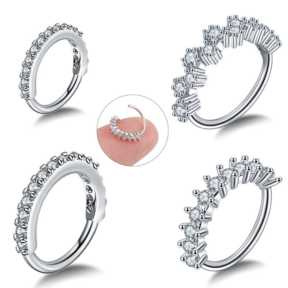 1PC Steel Prong Setting Round Zircon Ear Tragus Helix Cartilage Earrings Piercing Gem Bendable Seamless Nose Rings Body Jewelry