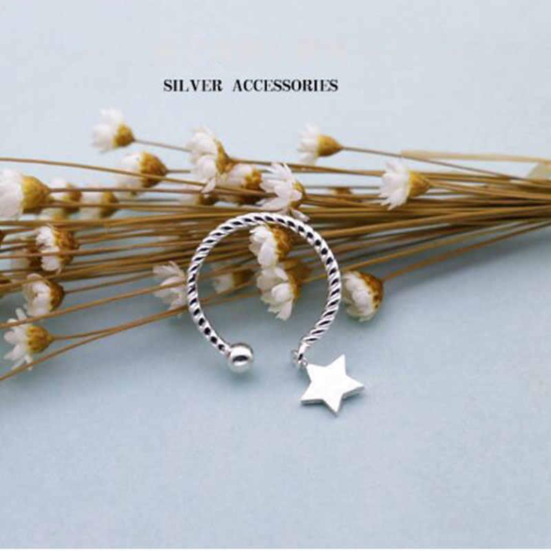 Женские кольца с кулоном в виде звезды Anenjery, открытые свадебные колечки из стерлингового серебра 925 пробы, S-R237