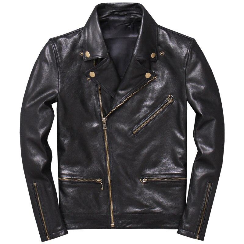 Jacket Genuine Sheepskin Biker's Motorcycle 4XL Thin Black Spring Slim Coat Plus-Size