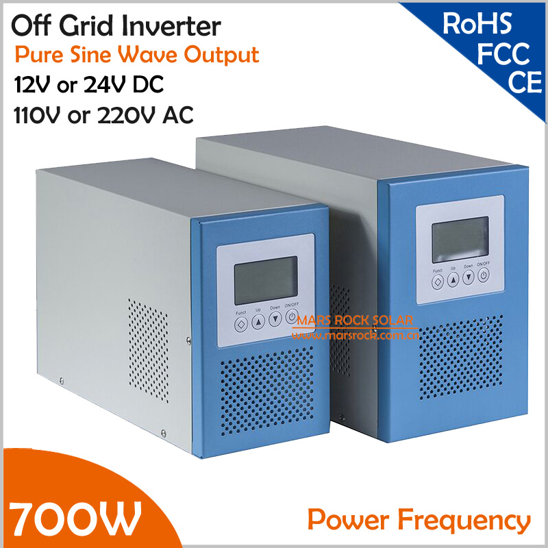 цена на Power Frequency 700W 12V or 24V DC to AC 110V or 220V Pure Sine Wave Off Grid Inverter with City Grid Charger Function
