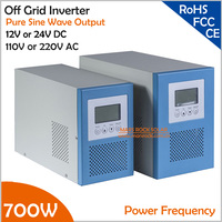 Power Frequency 700W 12V or 24V DC to AC 110V or 220V Pure Sine Wave Off Grid Inverter with City Grid Charger Function