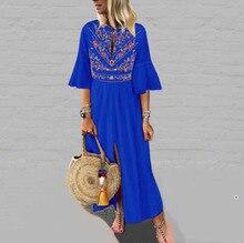 2019 Summer Women Bohemian Dress Floral Print V Neck Ruffles Split Dress Vintage Half Sleeve High Waist Long Maxi Dress tropical print split sleeve elasticized waist dress