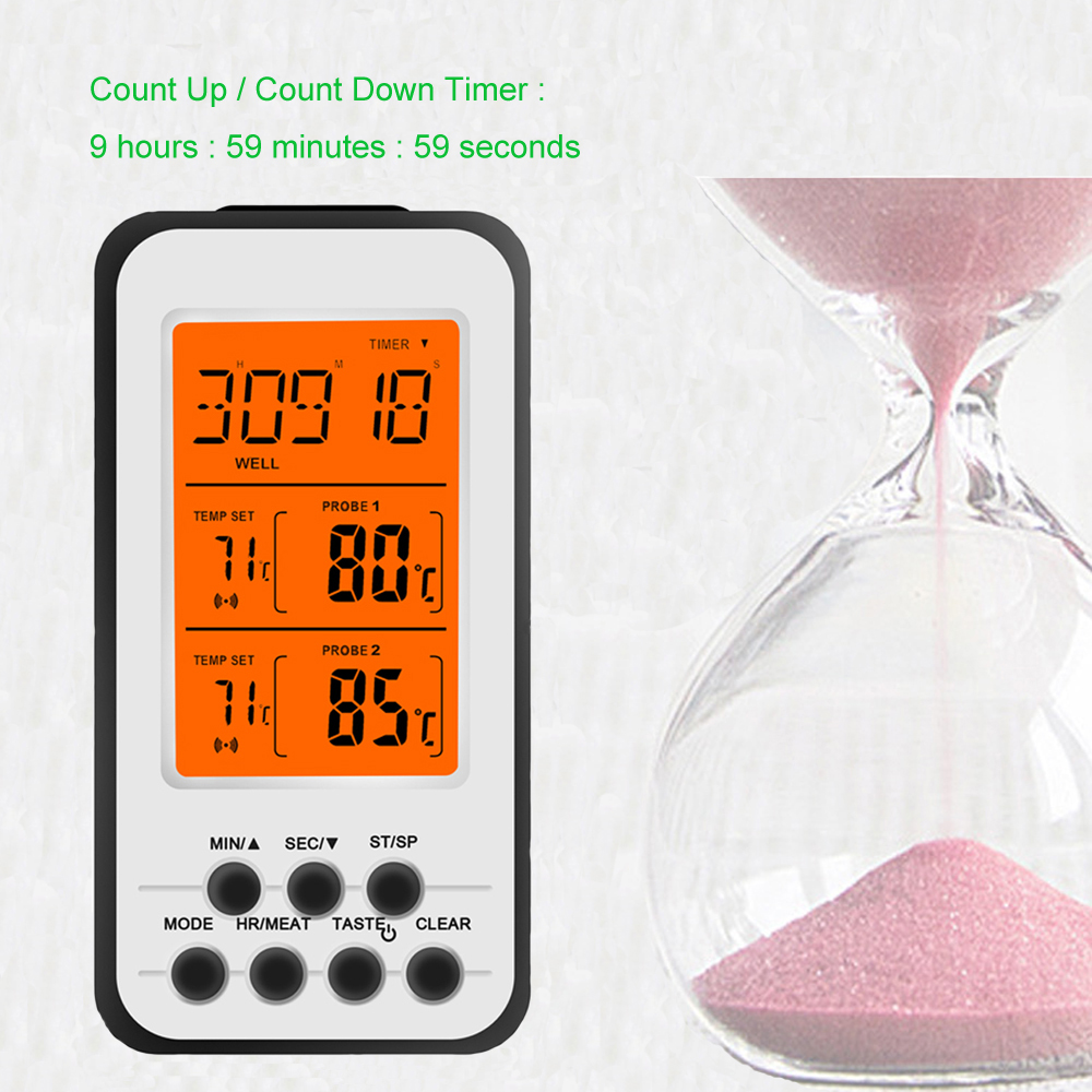 Digital Wireless Food Thermometer for Cooked Food and Grilled Meat with Timer and Temperature Alarm 7