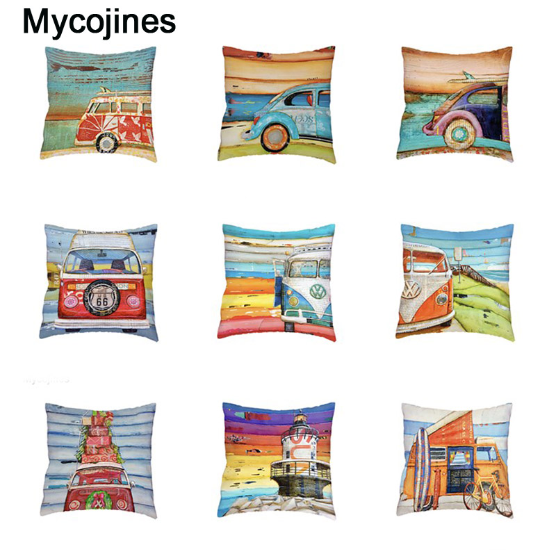 White Cushion Covers Retro Beetle Shabby Chic Pillow Cases 45cm Polyester Peach Skin Pillowcase Home Decorate Sofa Chair Bedding