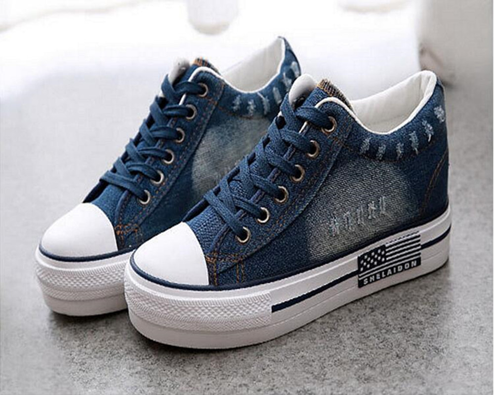 Blue Casual Shoes Vintage Water Wash Denim Shoes Breathable Platform Shoes Women Casual Canvas Shoes Woman