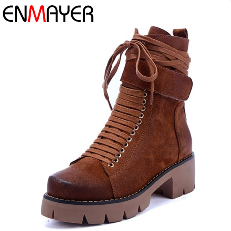 ENMAYER Black Motorcycle Boots Shoes Woman Square Heels Round Toe Lace-up Spring and Autumn High Quality Ankle Boots for Women enmayla ankle boots for women low heels autumn and winter boots shoes woman large size 34 43 round toe motorcycle boots