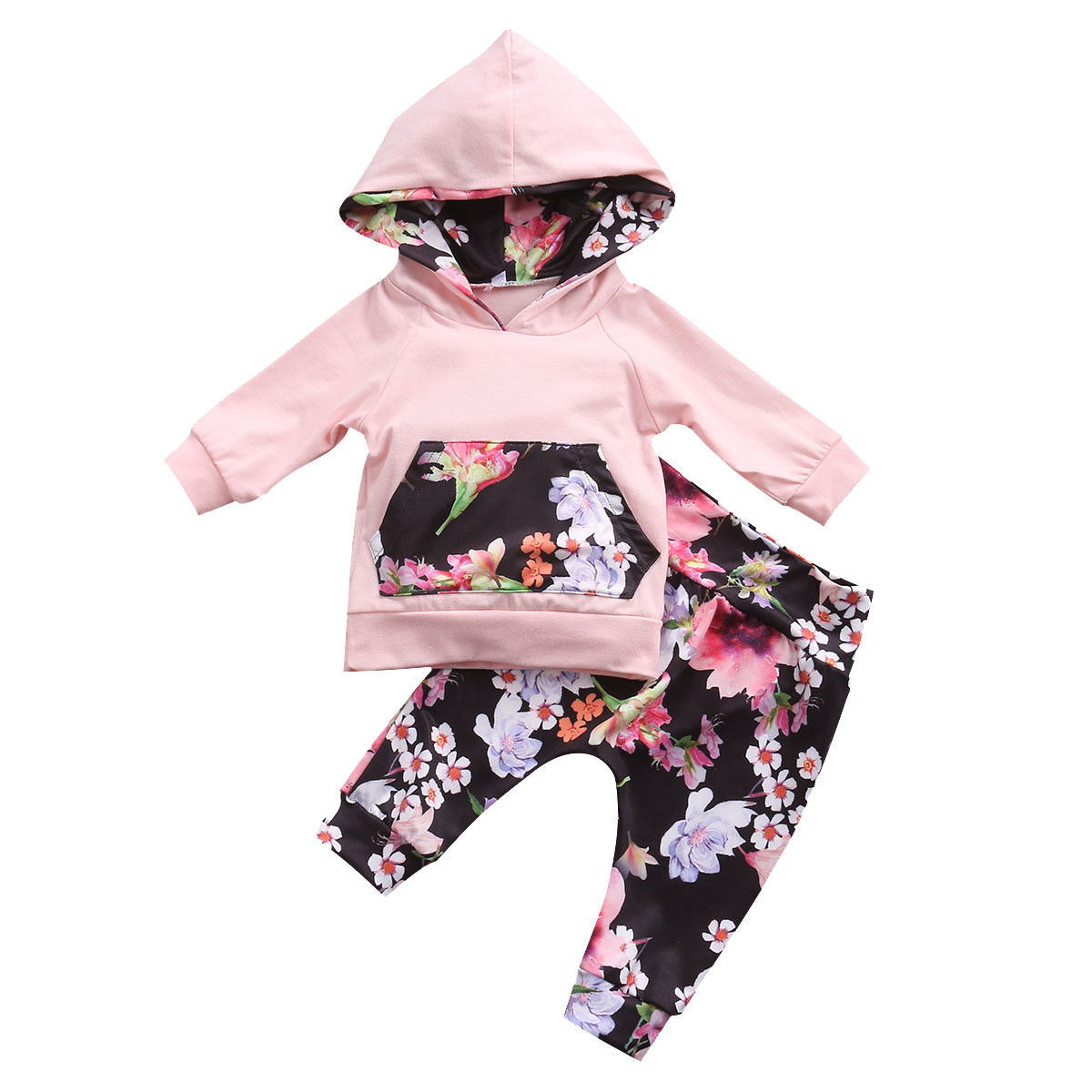 Infant Newborn Baby Girls Clothes Set Hooded Tops Long Sleeve T-shirt Floral Long Leggings Outfit Children Clothing Autumn 2PCs baby fox print clothes set newborn baby boy girl long sleeve t shirt tops pants 2017 new hot fall bebes outfit kids clothing set
