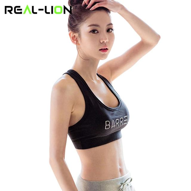 b071f95c78 RealLion Body Building Sports Bra Chest Pad Springy Girls Bras Yoga T-shirt  Women Clothing Bikini Push Up Fitness