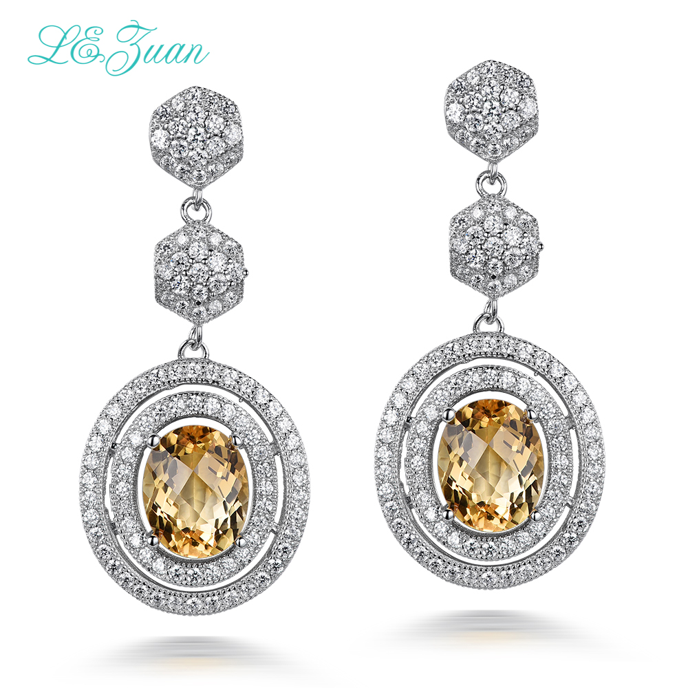 L&zuan 4.75ct Natural Citrine Gemstone 925 sterling-silver-jewelry Trendy Drop Earrings For Women Fine Jewelry Colar E0046-W05 pair of trendy faux gemstone embellished women s earrings