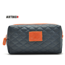 [Free shipping] artbox contrast color zipper diamond lattice PU leather cosmetic bag lady storage bag 60g
