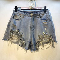 2019 summer new sequined women shorts denim chain metal hole night club sexy short jeans female outwear bottomings
