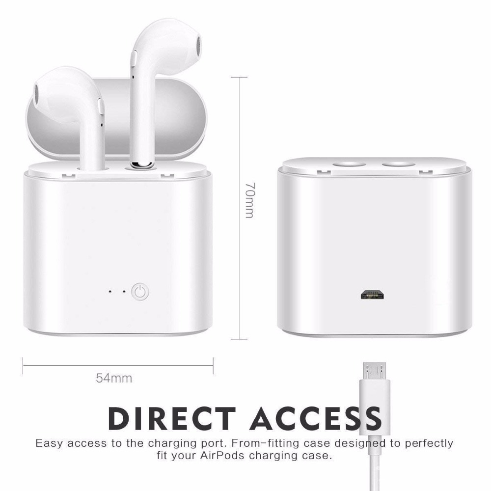 Image 3 - Bluetooth Earbuds i7S Wireless Headphones TWS Headsets Stereo In Ear Earphones With Mic Charging Box for ios and Android Phone-in Bluetooth Earphones & Headphones from Consumer Electronics