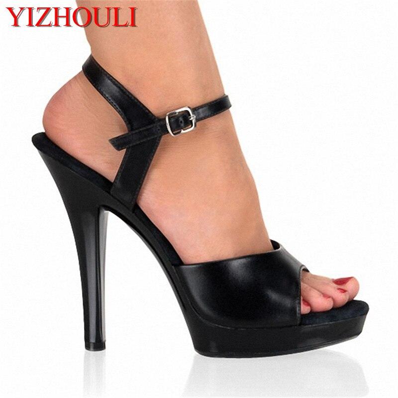 5 pulgadas tacón alto plataforma sandalias mujeres 2017 verano T volver Correa casual sandalias atractivas 13 cm clásicos rojos tacones